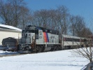 New Jersey Transit 4206 basks in the sunlight and snow at Hammonton on March 4, 2009. Photo by Thomas Duke,