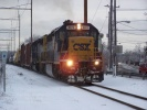CSX 8974 leads CA-11 northbound at Park Ave in Woodbury NJ on Feb 14, 2007. Photo by Thomas Duke.