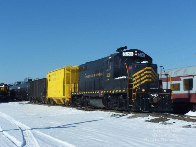 Winchester & Western 520 prepares to depart Bridgeton east to Vineland on March 4, 2009. Photo by Thomas Duke.