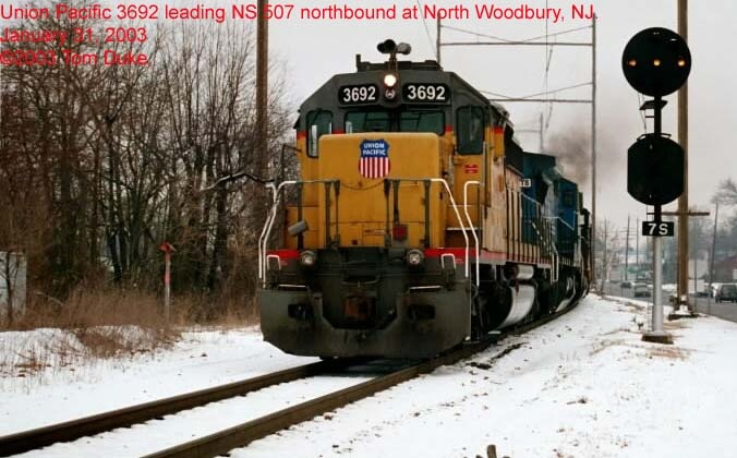 NS 507 northbound with a UP leader in 2003.  By Tom Duke.