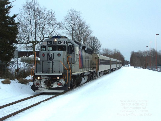 New Jersey Transit 4212 at Hammonton, NJ on Feb 13, 2010. Photo by Thomas Duke.