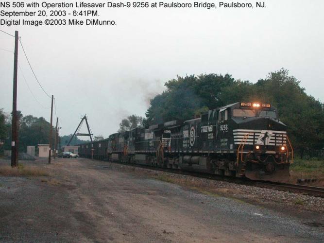 NS 506 coal train with OLS unit at Paulsboro Bridge.