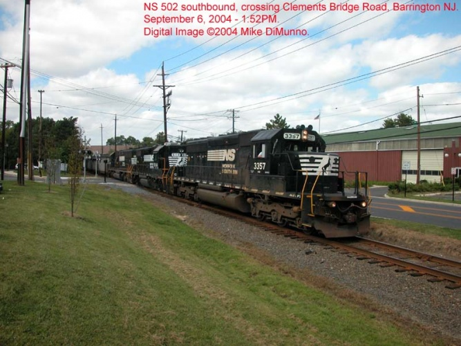 NS 502 southboudn at Clements Bridge Rd.