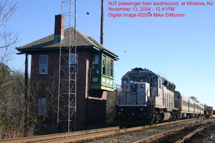 NJRail train northbound at Winslow, NJ.