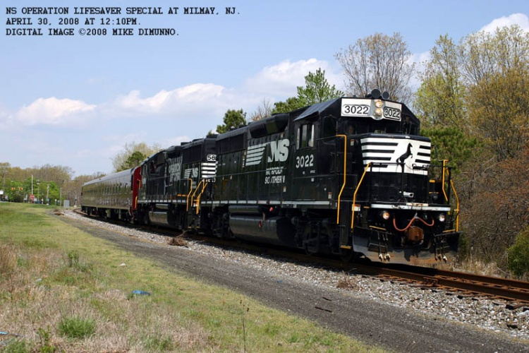 Norfolk Southern Operation Lifesaver special southbound entering Milmay, NJ.