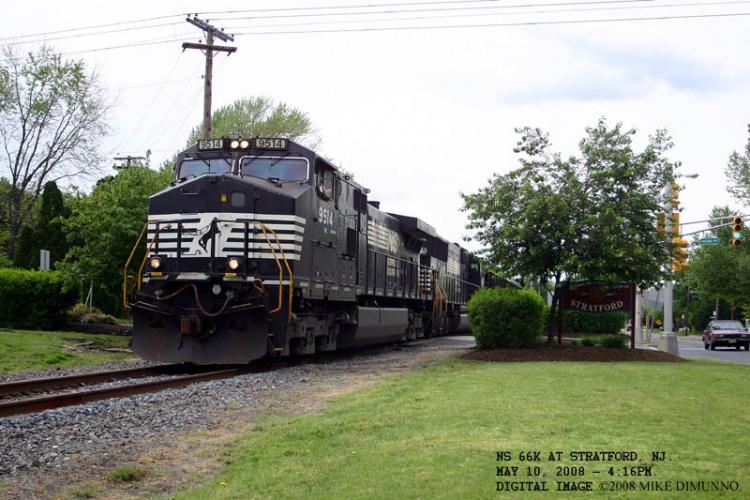 NS 66K stone train at Stratford, NJ on May 10, 2008.