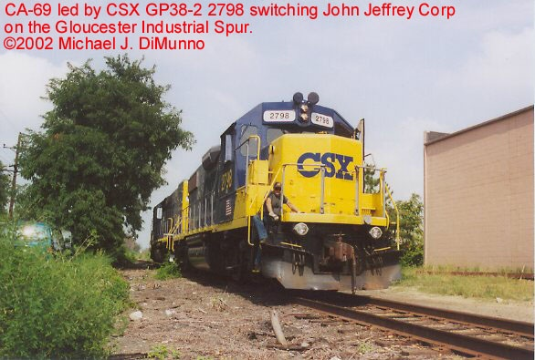 CA-69 switching John Jeffrey Corp. on the Gloucester Ind. Track.