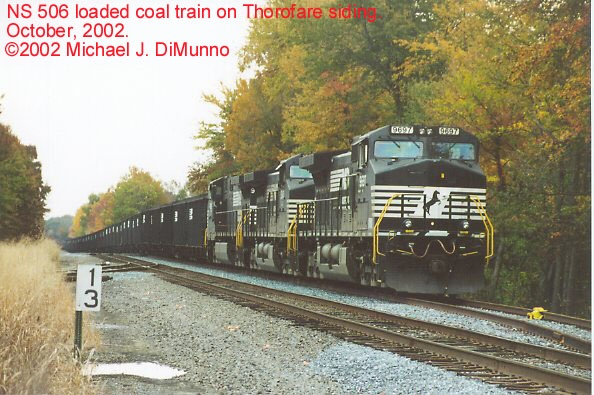 NS 506 coal train on Thorofare siding, Thorofare NJ.