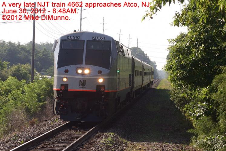 NJT train 4662 approaching Atco, NJ.