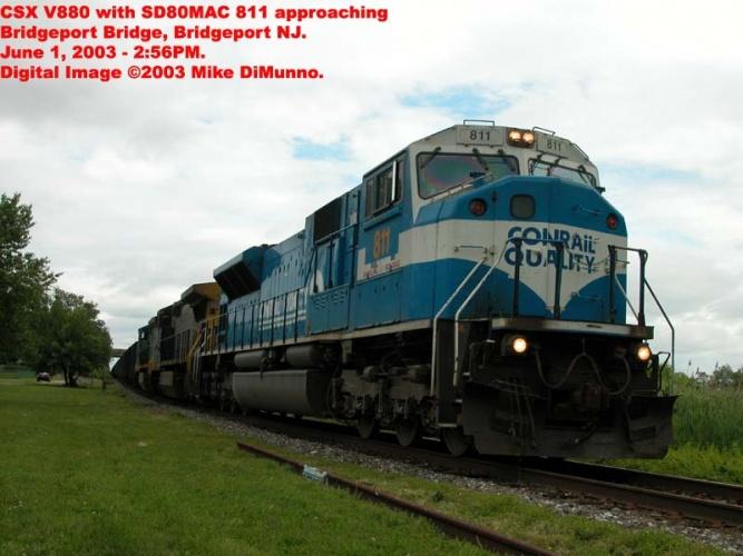 CSX V877 with SD80MAC at Bridgeport, NJ.
